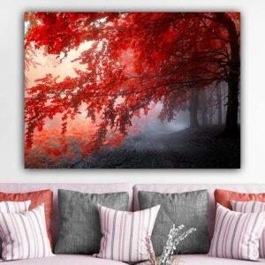 Πίνακας σε καμβά Red Forest ( κοκκινο δεντρο )