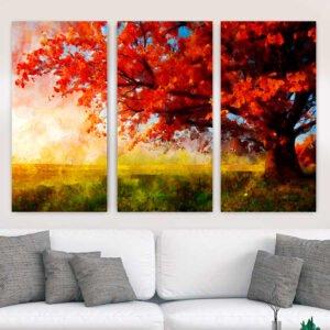 Τρίπτυχος πίνακας σε καμβά Red Tree