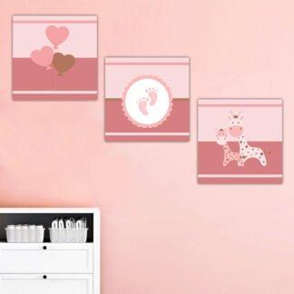 Τρίπτυχος Παιδικός πίνακας Παιδικοί πίνακες σε καμβά ροζ πατουσάκια