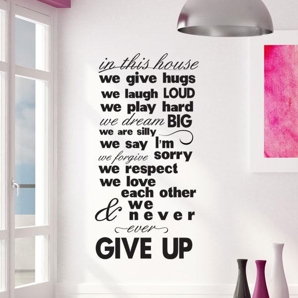 We never give up – αυτοκόλλητα τοίχου φράσεις