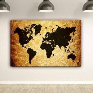 Πίνακας σε καμβά World map Mayan edition (παγκόσμιος χάρτης )