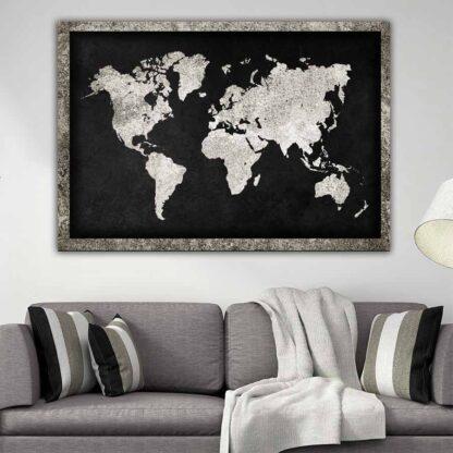 World map X grained πίνακας σε καμβά ( παγκόσμιος χάρτης x grained )