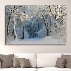 Χιονισμένο μονοπάτι πίνακας σε καμβά
