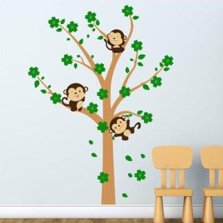 Αυτοκόλλητο τοίχου Δέντρο με μαϊμουδάκια