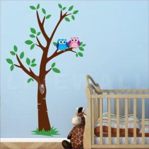 Αυτοκόλλητο τοίχου Δέντρο με κουκουβάγιες – Owl tree