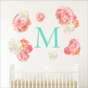 Παιδικό – βρεφικό Αυτοκόλλητο τοίχου Λουλούδια με μονόγραμμα