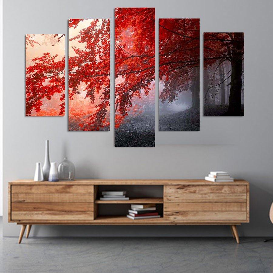 Red Forest πεντάπτυχος πίνακας σε καμβά