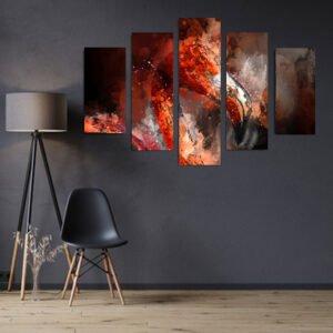 Πεντάπτυχος πίνακας σε καμβά Red Flamingo