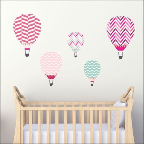 Αυτοκόλλητο τοίχου Αερόστατα ροζ