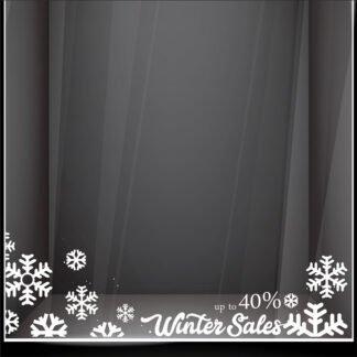 Αυτοκόλλητο βιτρίνας Snowflake Sale γωνίες