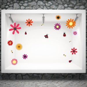 Ανοιξιάτικο αυτοκόλλητο βιτρίνας Spring flowers