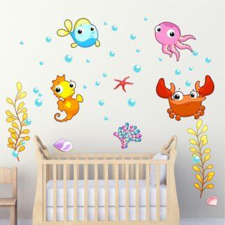 Αυτοκόλλητο τοίχου Θαλάσσια ζωάκια