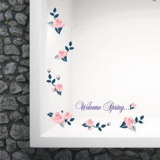 Ανοιξιάτικο αυτοκόλλητο για τζάμι – βιτρίνας Vitrine Roses