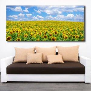 Πανοραμικός πίνακας σε καμβά λιβάδι με ήλιους