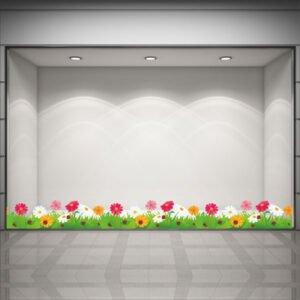 Αυτοκόλλητη μπορντούρα βιτρίνας με λουλούδια και πασχαλιτσες