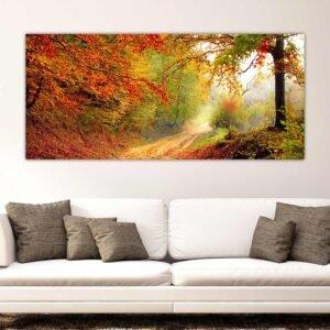 Πανοραμικός πίνακας σε καμβά Μονοπάτι με φύλλα