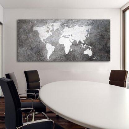 World map Industrial πανοραμικός πίνακας σε καμβά