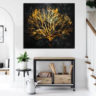 Πίνακας σε καμβά χρυσό δέντρο