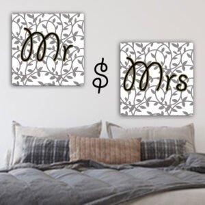 Πίνακας σε καμβα Mr & Mrs Σετ 2 πίνακες