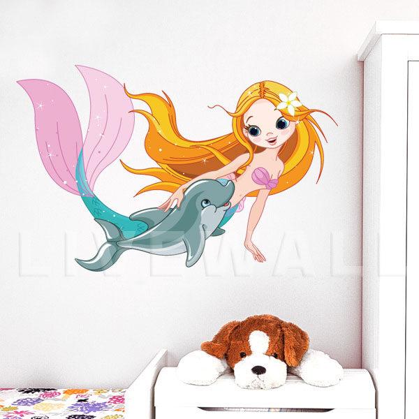 Αυτοκόλλητο τοίχου Γοργόνα & δελφινάκι