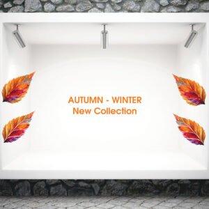 Φθινοπωρινό διακοσμητικό αυτοκόλλητο βιτρίνας New Collection
