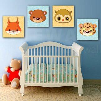 Παιδικοί πίνακες σε καμβά baby animals (σετ 4 πίνακες)