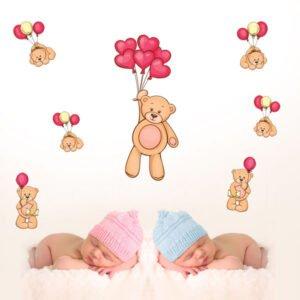 Αυτοκολλητο τοιχου Αρκουδάκια Με Καρδούλες & Μπαλόνια σετ 7 τεμάχια