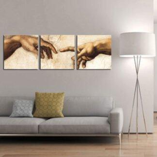Τρίπτυχος πίνακας σε καμβά Creation Hands