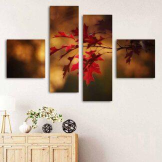 Τετράπτυχος πίνακας σε καμβά φθινοπωρινό φύλλο