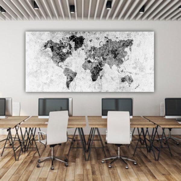 Black & white world map πανοραμικός πίνακας σε καμβά ( παγκόσμιος χάρτης )