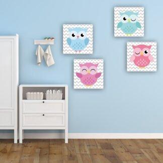 Παιδικοί πίνακες σε καμβά happy owls (σετ 4 πίνακες)