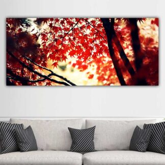 Πανοραμικός πίνακας σε καμβά κόκκινα φύλλα και κλαδιά
