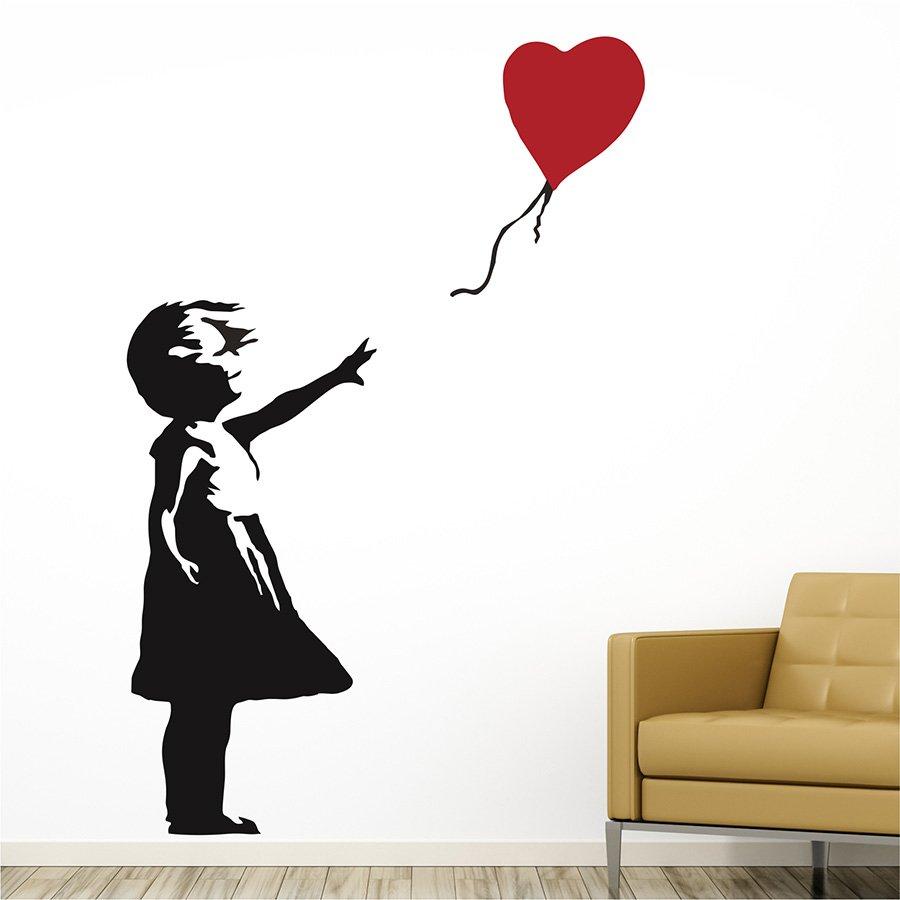 Αυτοκολλητο τοίχου Κοριτσάκι με μπαλόνι καρδιά (banksy)
