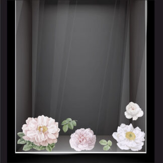 Ανοιξιάτικο αυτοκόλλητο βιτρίνας Λευκά άνθη