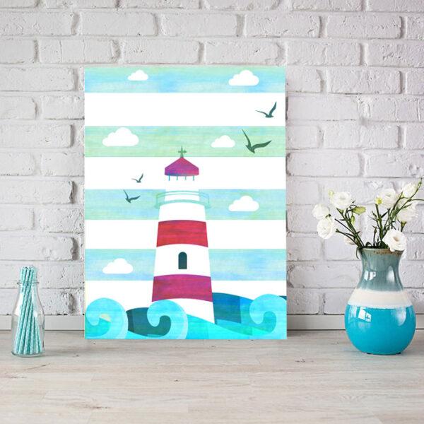 Κάθετος παιδικός πίνακας σε καμβά Lighthouse