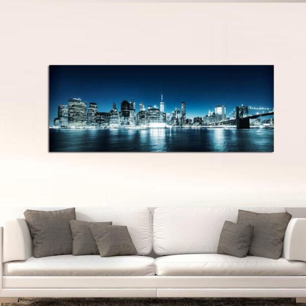 Manhattan at night πανοραμικός πίνακας σε καμβά
