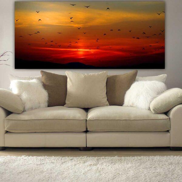 Πουλιά σε ηλιοβασίλεμα πανοραμικός πίνακας σε καμβά