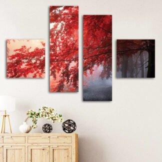Τετράπτυχος Red Forest  πίνακας σε καμβά ( κοκκινο δεντρο )