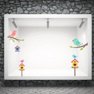 Ανοιξιάτικο αυτοκόλλητο βιτρίνας spring birds