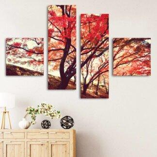 Τετράπτυχος κόκκινα φύλλα & κλαδιά πίνακας σε καμβά