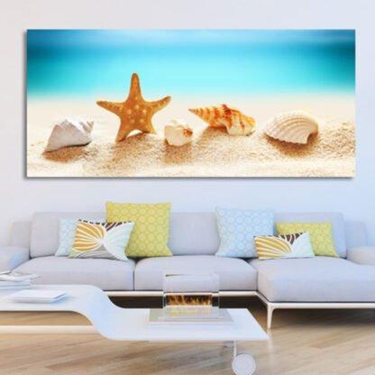 Πανοραμικος πίνακας σε καμβά κοχύλια και αστερίας πίνακας σε καμβά