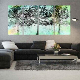 Τετράπτυχος πίνακας σε καμβά mint trees