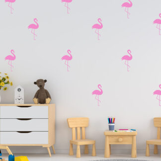 Αυτοκόλλητα τοίχου mini set flamingos