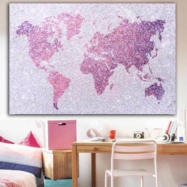 Πίνακας σε καμβά Girly World map