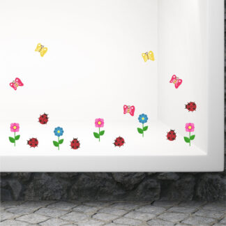 Pink flowers αυτοκόλλητο βιτρίνας