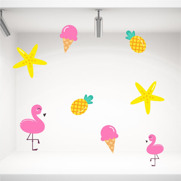 Αυτοκόλλητα διακοσμητικά καλοκαιρινής βιτρίνας παγωτά, φλαμίνγκο, ανανάς, αστερίες.