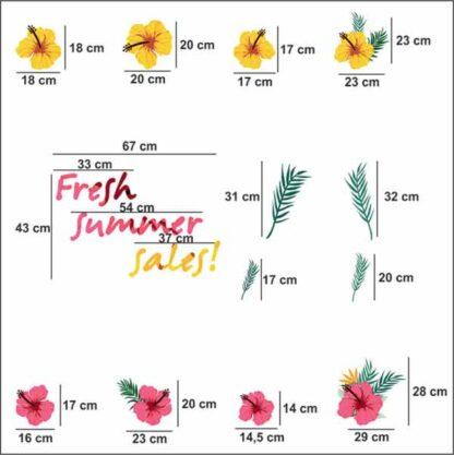 Αυτοκόλλητα καλοκαιρινής βιτρίνας Fresh summer sales με ιβίσκους