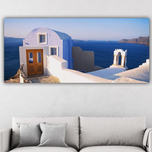 Πόρτα στο γαλάζιο πανοραμικός πίνακας σε καμβά