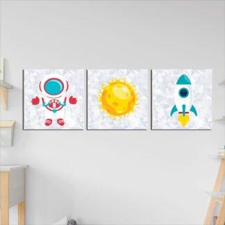 Τρίπτυχος Παιδικός πίνακας σε καμβά διάστημα νο2
