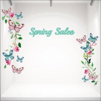 Αυτοκόλλητο βιτρίνας Spring Butterflies